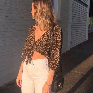 Faithful the brand leopard tie blouse